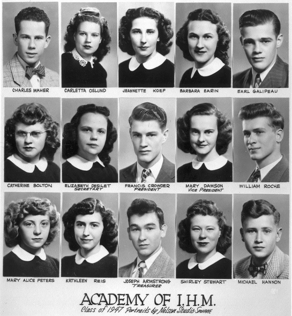 Alumni of IHM Academy, Coeur d'Alene, Idaho, class of 1947