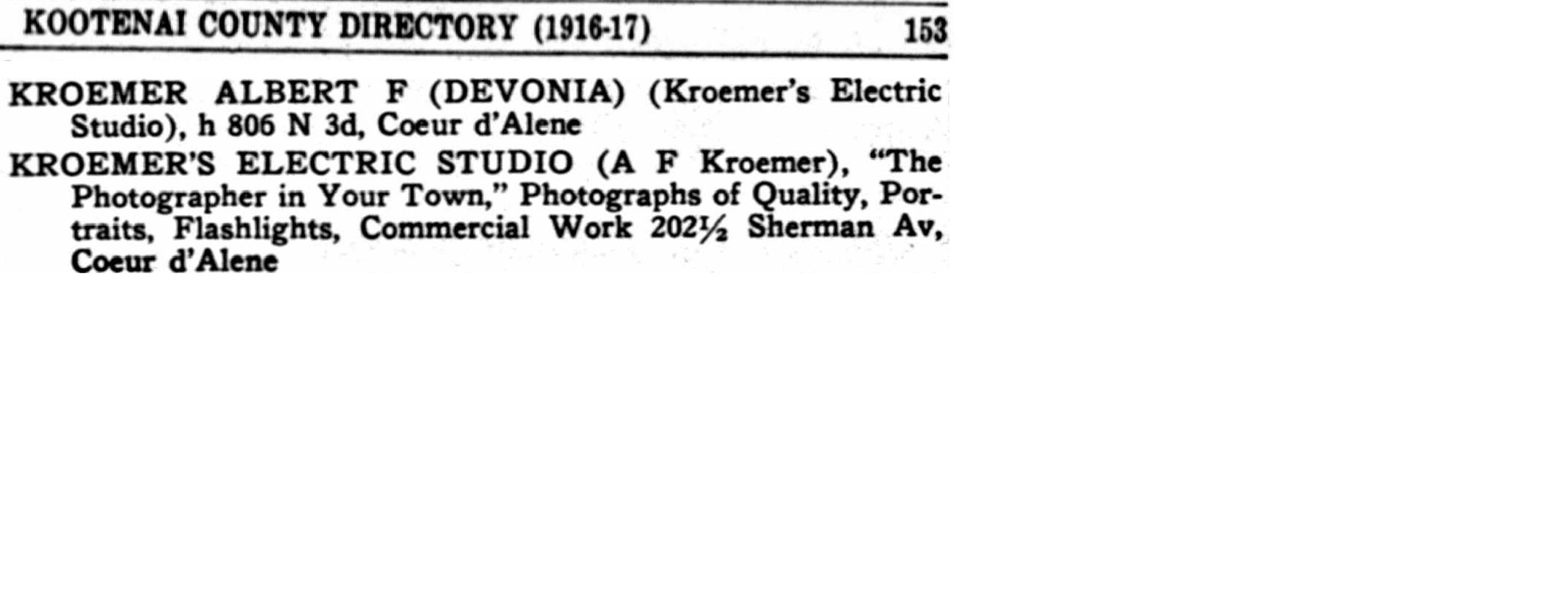 1916 Kootenai County City Directory