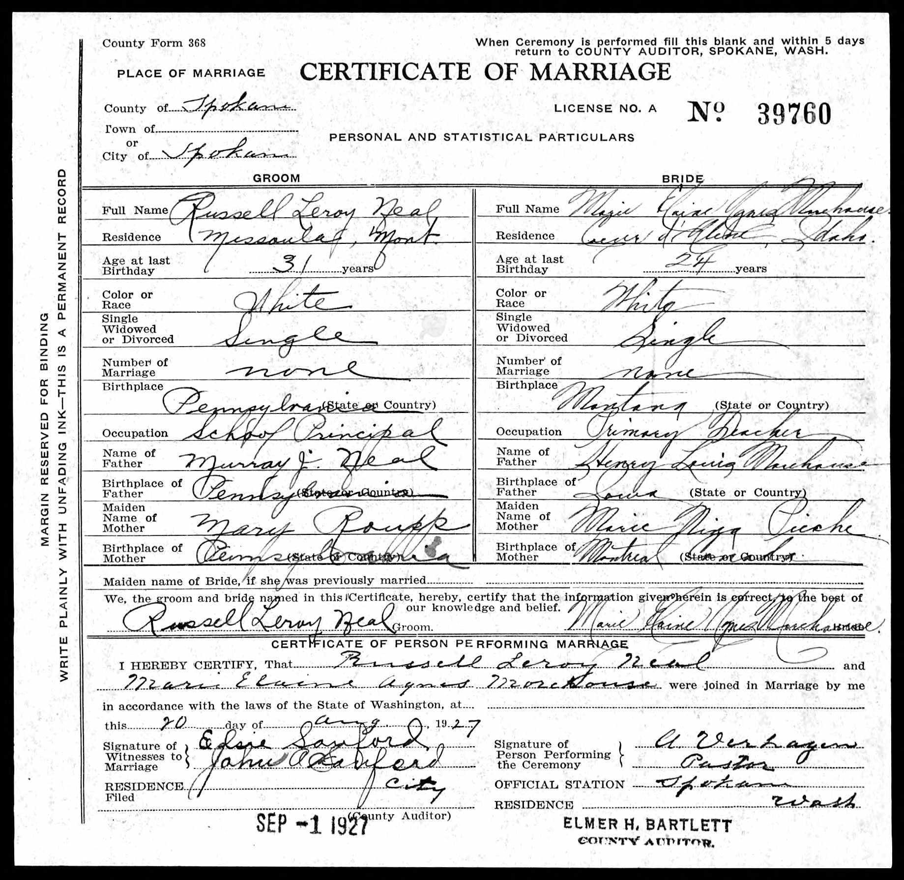 IHM Alumni, class of 1921
