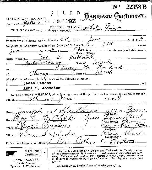 McBRIDE family information